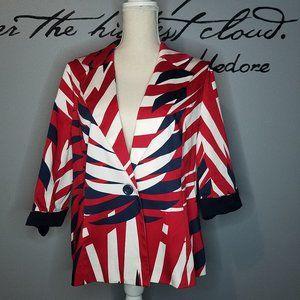 Erin London Bold Red, White & Blue Blazer, size L